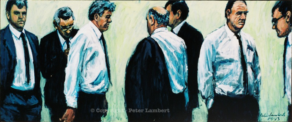 The Blokes - 1993, Oil on board, Sold