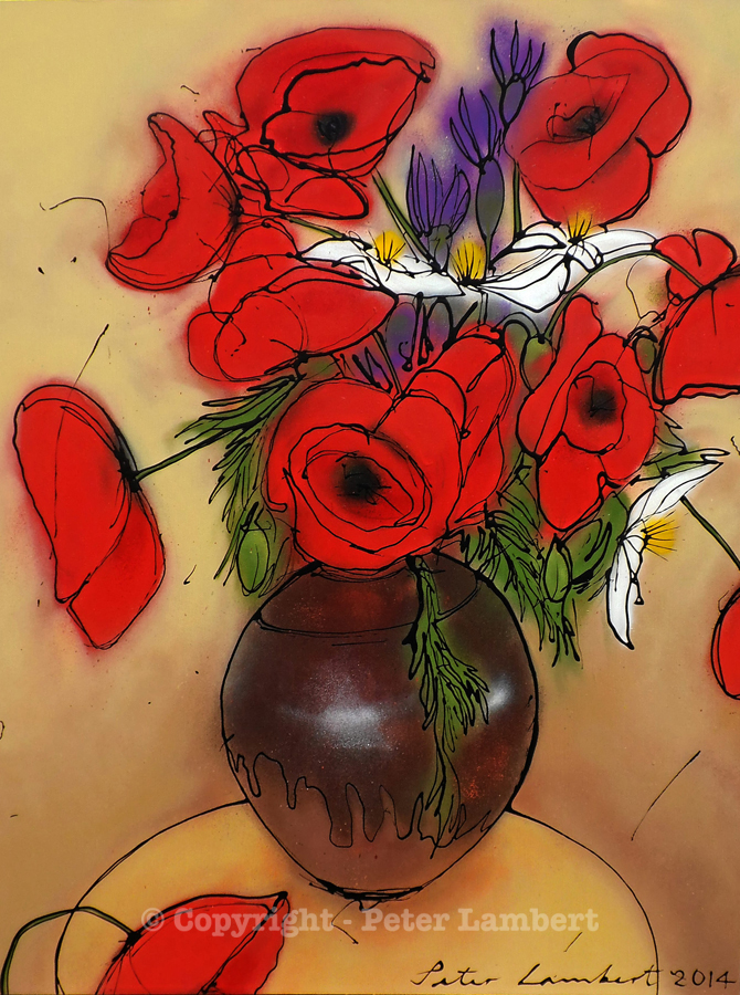 Red Poppies and Clematis in a Vase - 2014, Sold