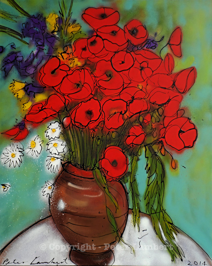 Red Poppies in a Vase - 2014, Sold