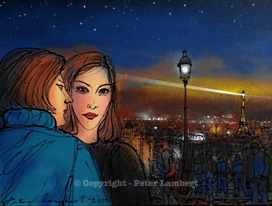 Two Women,  Montmartre Evening - 2014, Sold