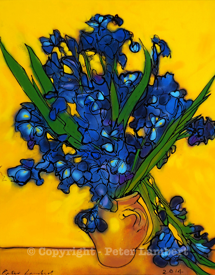 Irises in a Vase - After Van Gogh - 2014, Sold