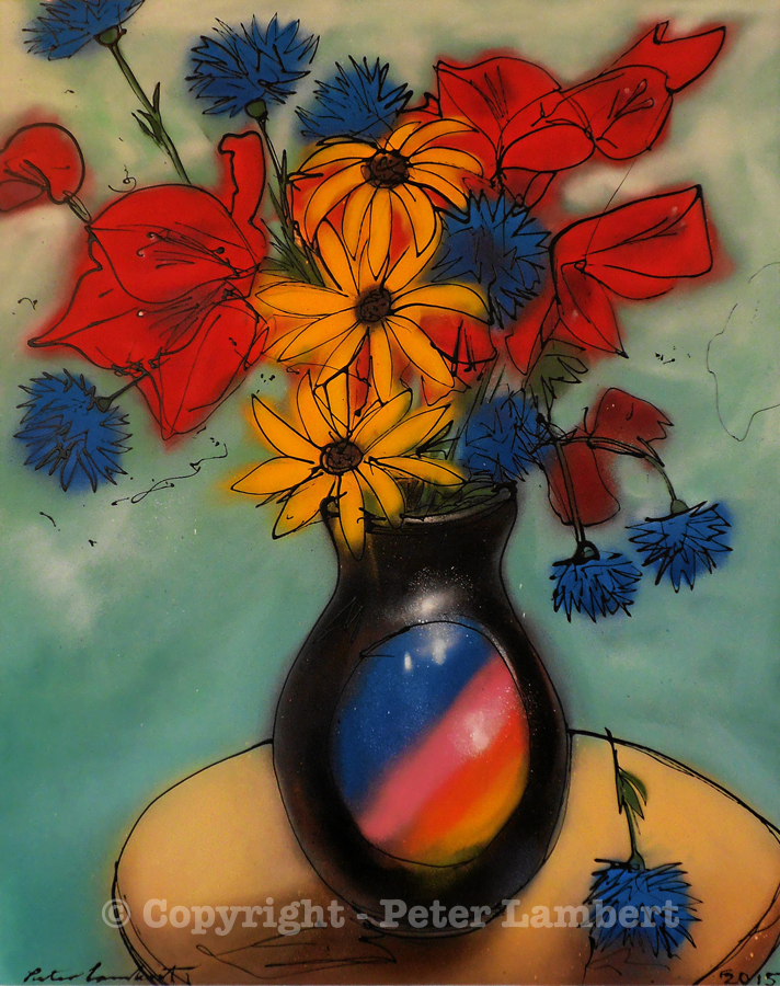Red, Yellow and Blue Flowers in a Vase - 2015, Sold