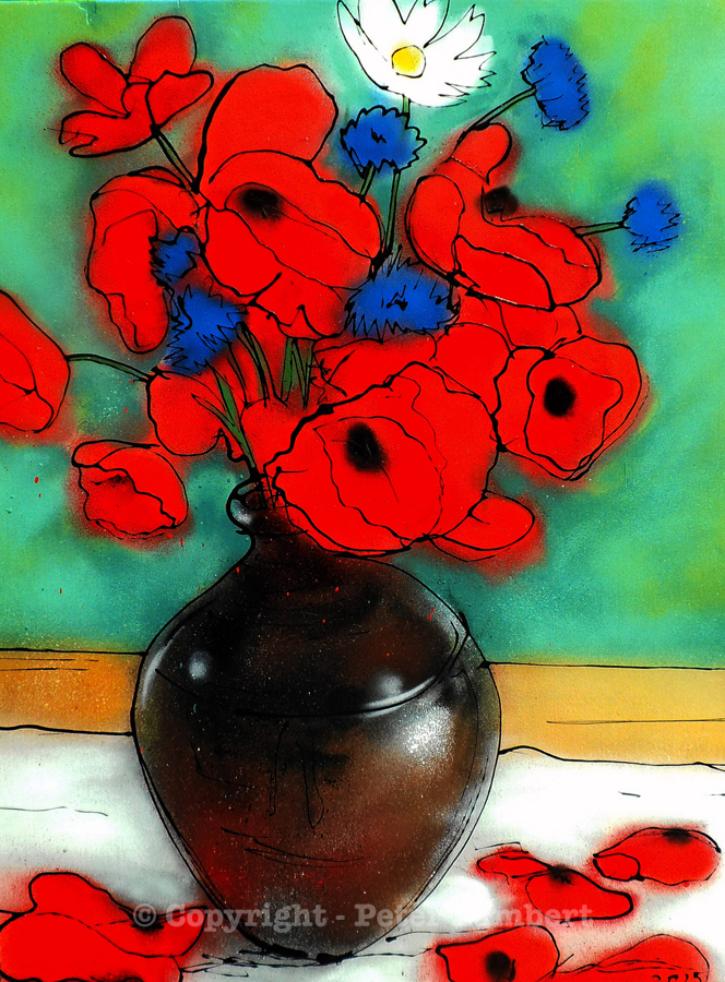 Red Poppies and Cornflowers in a Vase - 2015, Sold