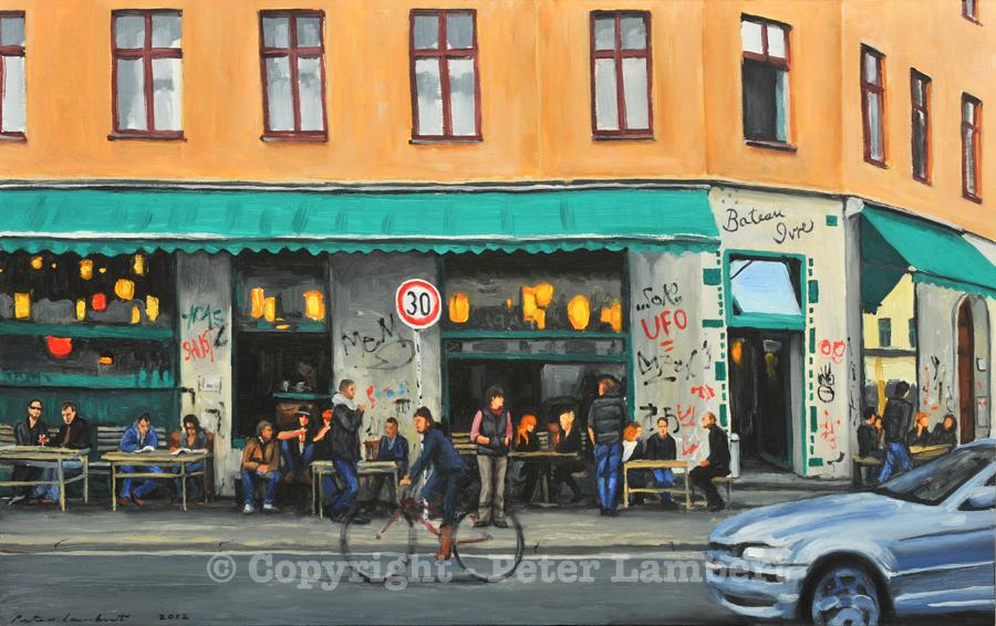 Bateau Ivre Cafe, Oranienstrasse, Berlin - 2012, Oil on board, Artist's collection