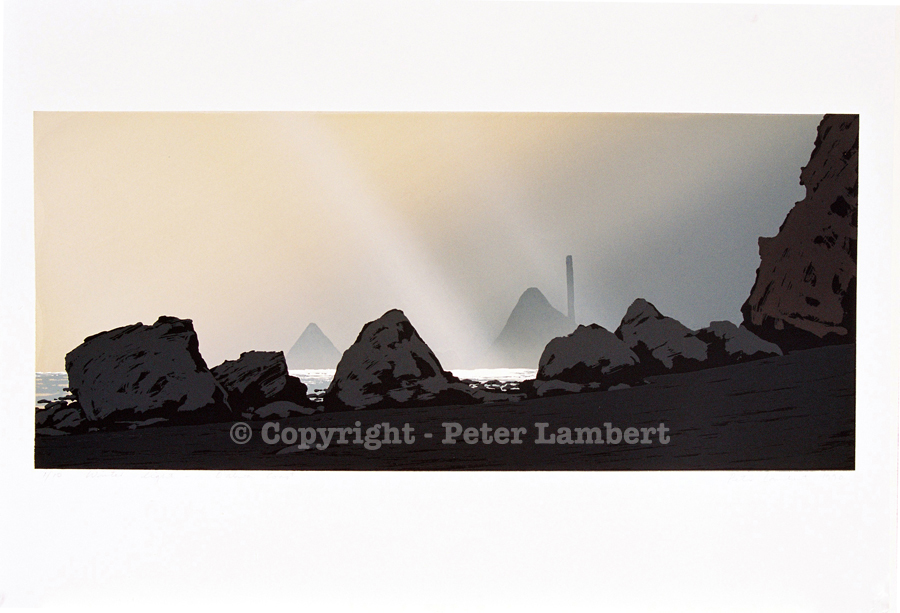 Winter Light, Oakura Coast - 1990, Screenprint on paper, Edition sold. Reproductions Available