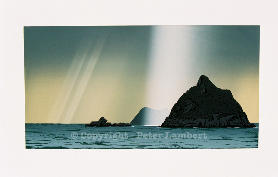 Taranaki Offshore Islands - 1990, Screenprint on paper, Edition sold
