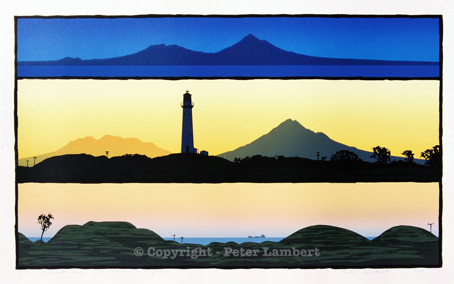 Taranaki and Lighthouse, Triptych - 2001, Screenprint on paper, Edition sold. Reproductions Available