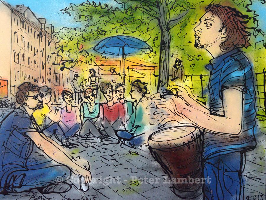 Street Musician, Berlin Market - 2013, Sold