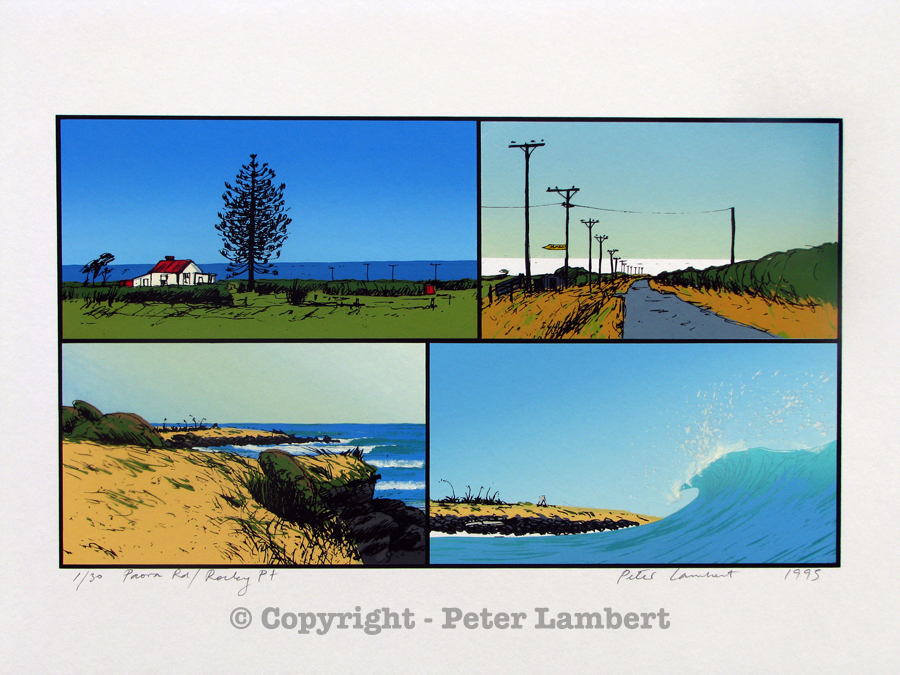Paora Road / Rocky Point - 1995, Screenprint on paper, Edition sold