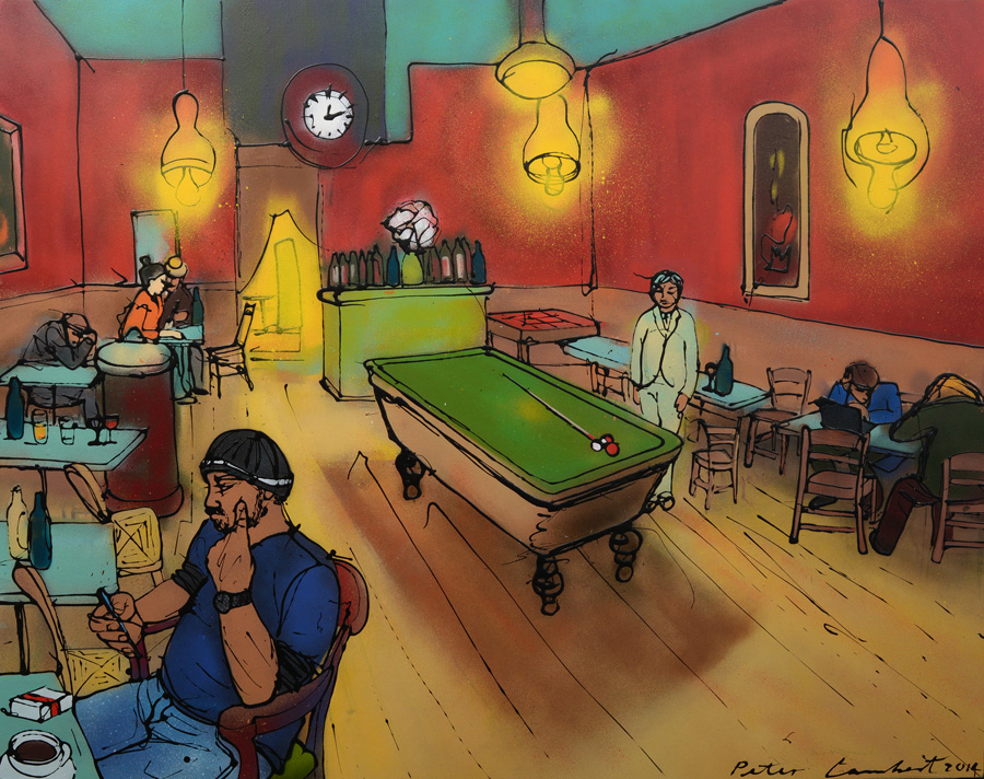 Man With Cellphone In Van Gogh's Night Cafe - 2014, Sold, Reproductions available