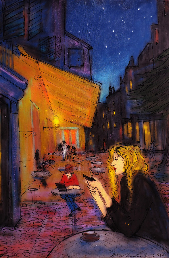 Woman With Cellphone On Van Gogh's Cafe Terrace - 2014. Sold. Reproductions Available