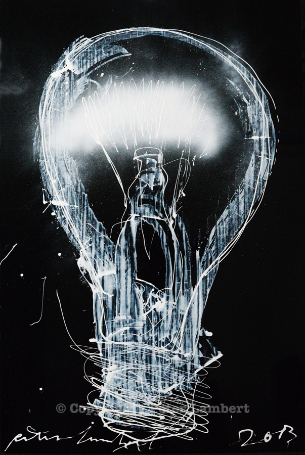 Light Bulb / Bright Idea - 2013, Mixed media on board, Sold, Reproductions available