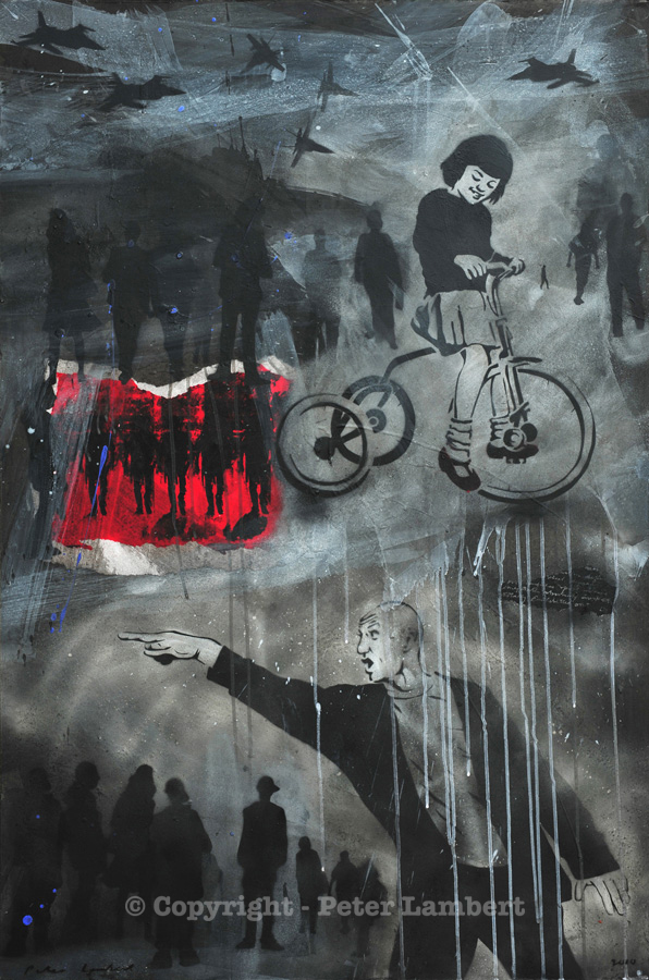 Girl on a Tricycle - 2010, Mixed media on board, Sold, Reproductions available