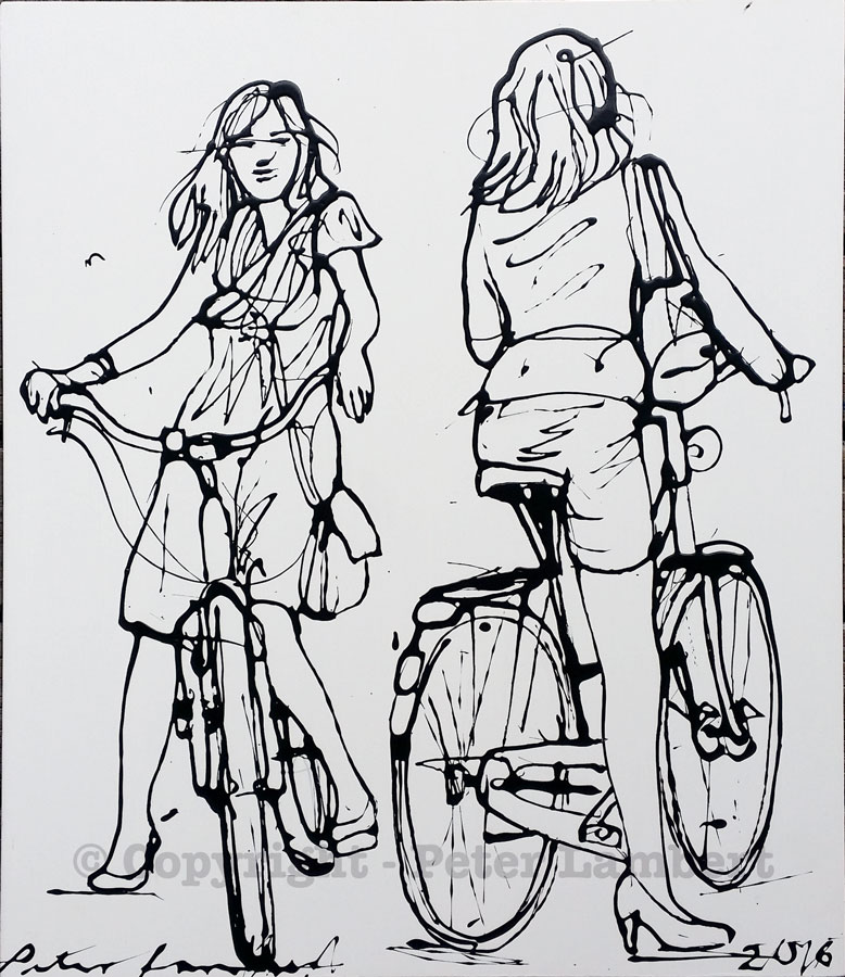 Two Women on Bikes - 2016, Sold