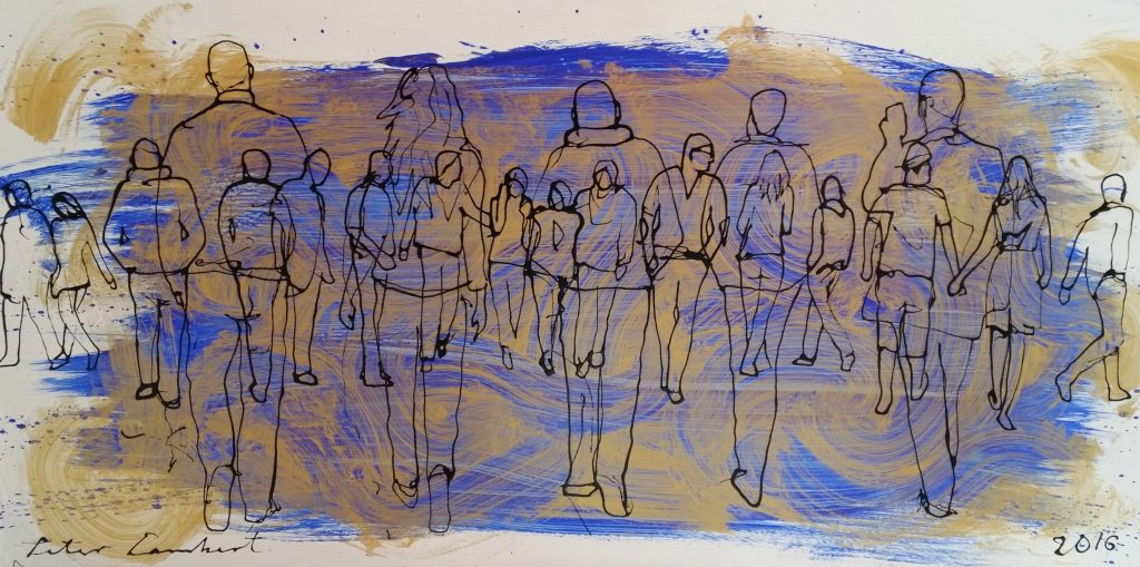 """People Walking on Blue and Gold""                         2016, Sold"
