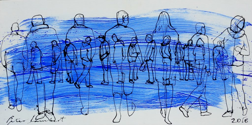 People Walking On Blue - 2016, Sold