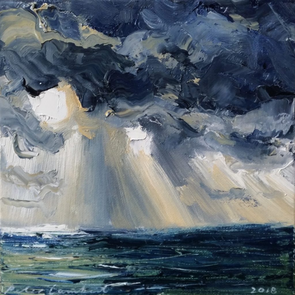 """Sunbeams and Rainfront out at sea"" 2018, 200x200mm"