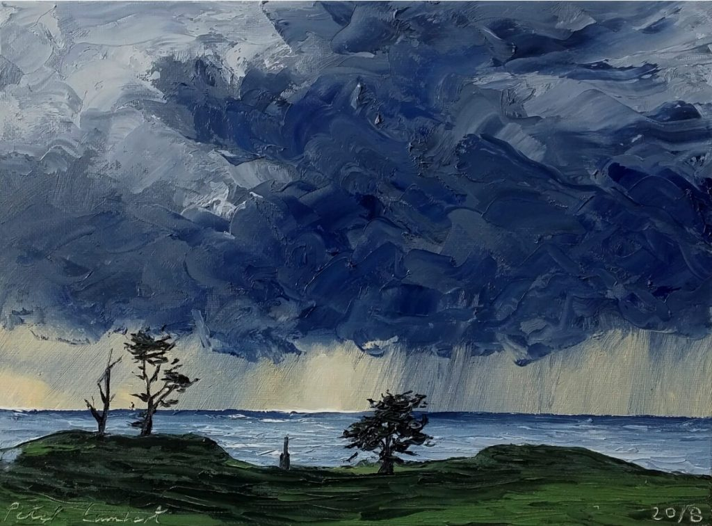 """""""View from Weld Rd...trees and rainfront."""" 2018, 300x225mm Sold"""