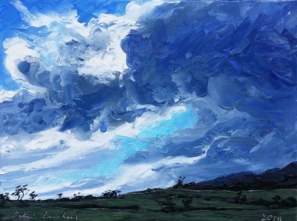 """""""Building Clouds ...View from Studio"""" 2018,   230x300mm  oil on canvas"""