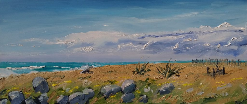 Rocky Point Reserve -1995,  270x600mm  oil on board, Sold