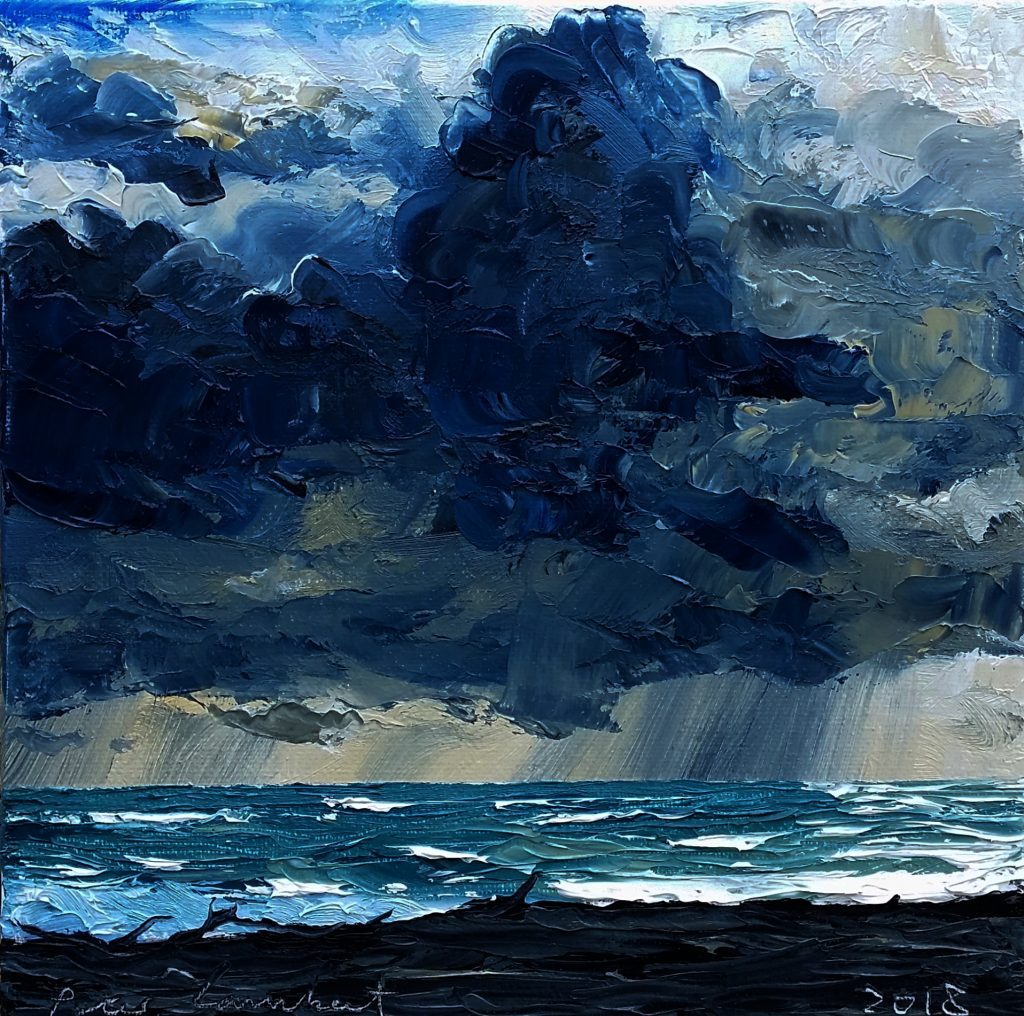 """""""Storm clouds and Rain front Komene Beach"""" 2018, 200x200mm Oil on canvas Sold"""