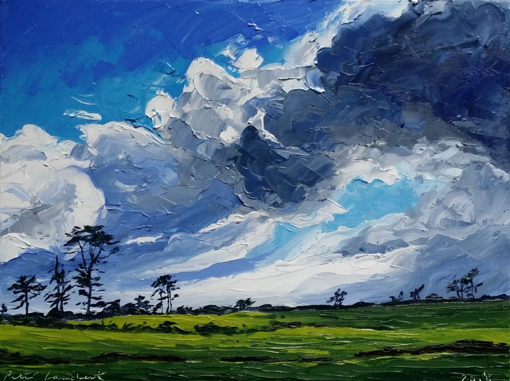 """""""Clearing Sky... view from studio"""" 2018, 300x400mm Oil on canvas Sold"""