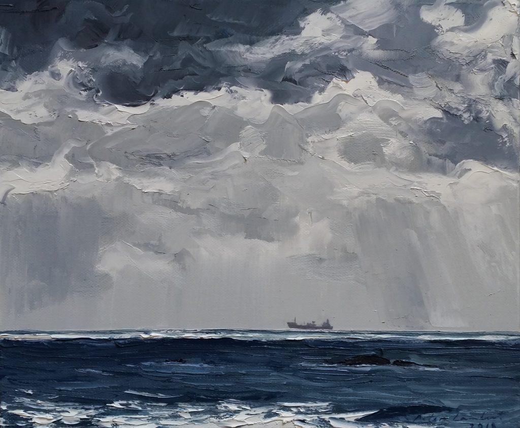 """Coastal Ship"" - 2018   Oil on canvas  250x300mm"