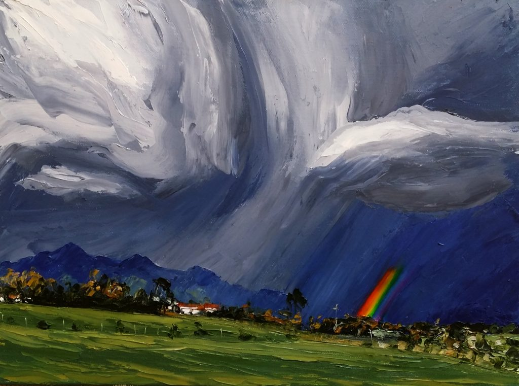 """Kaitake Ranges and Rainbow"" - 2018, Oil in canvas 300x400mm, Sold"