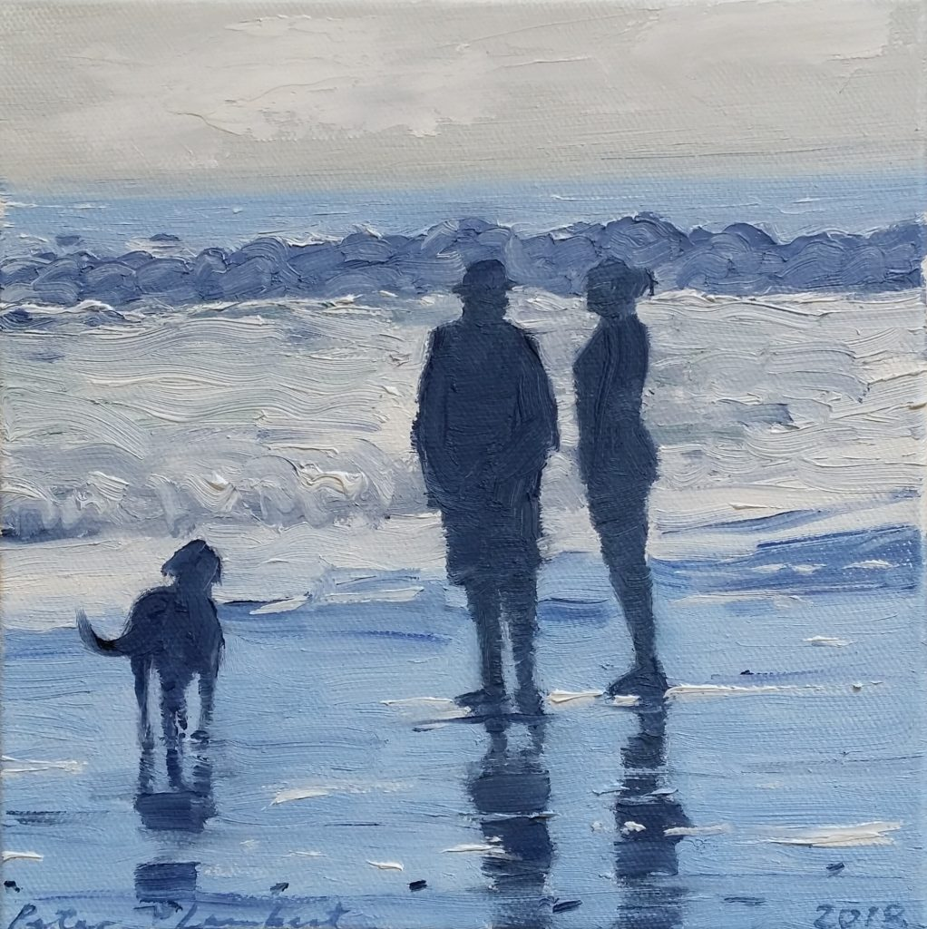 """Couple with Dog at the Beach"" - 2018  Oil on canvas 200x200mm, Sold"