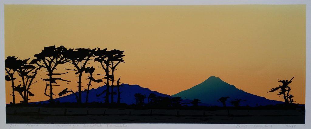 """November Morning, Coastal Taranaki"" - 2018  Limited Edition Screenprint  Edition Sold"