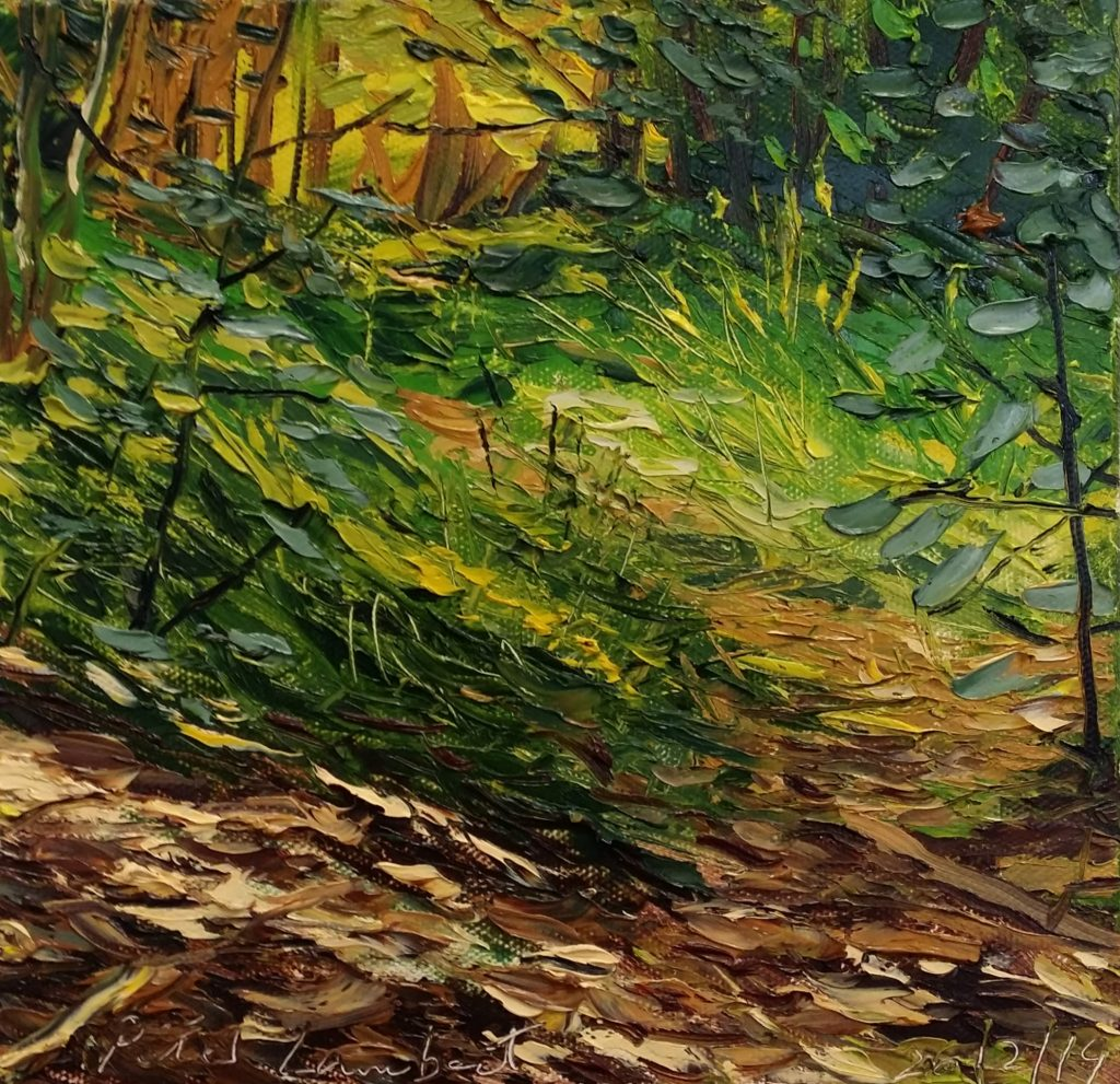 """""""Bush Track"""" 26/2/2019 200mmx200mm Oil on canvas - Sold"""