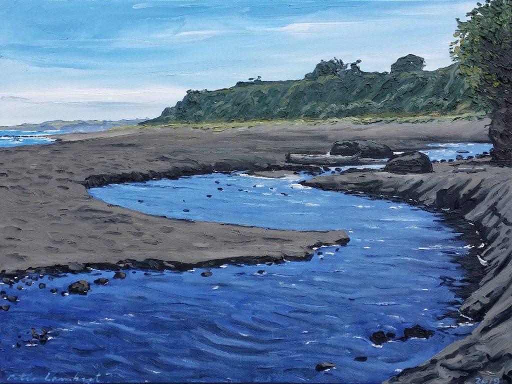 """""""Stream, Ahuahu Beach"""" 2019    Oil on canvas 460mm610mm Sold"""
