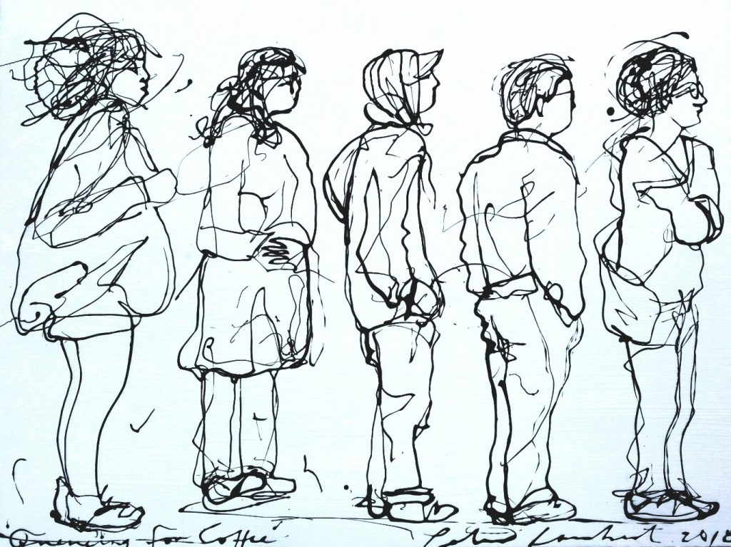 """""""Queueing for Coffee"""" 2018. Sold"""