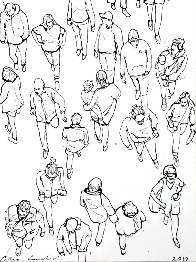 """""""People at Centre City #2"""" 2019 800x1060mm Sold"""