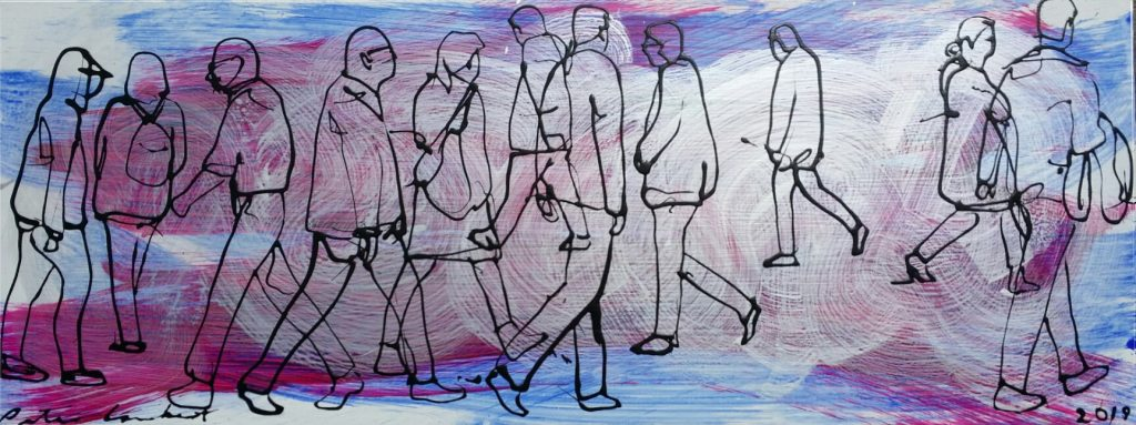 """""""People on Blue, Maroon and Silver"""" 2019 800x305mm - Sold"""