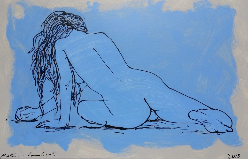 Nude on Blue - 2019, 600mmx800mm Mixed media on board Sold