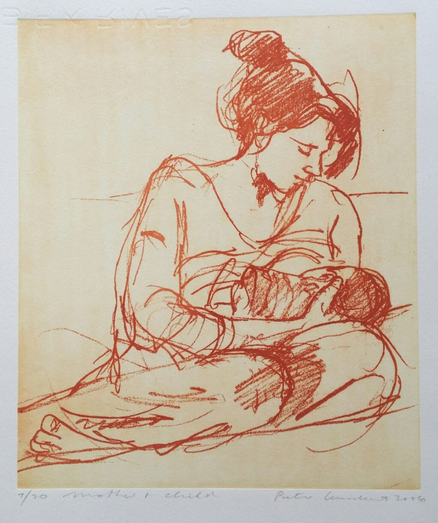 """Mother and Child""  2006 Solar plate etching"