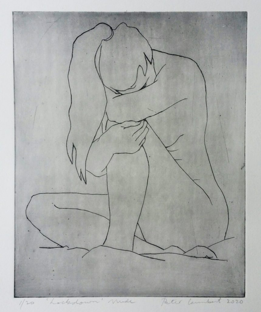 Lockdown Nude - 2020, 250x205mm Drypoint print on paper