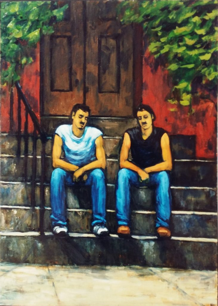 Friends sitting on the Stoop, New York - 1996 Oil on Board