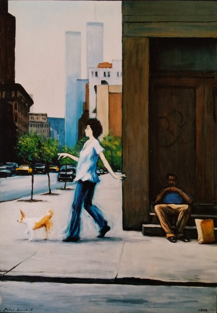 Walking the Dog, New York - 1998 Oil on Board
