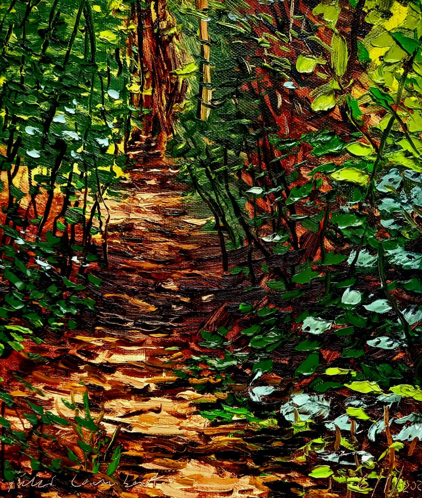 Bush Track 6/1/22, 260x300mm Oil on canvas