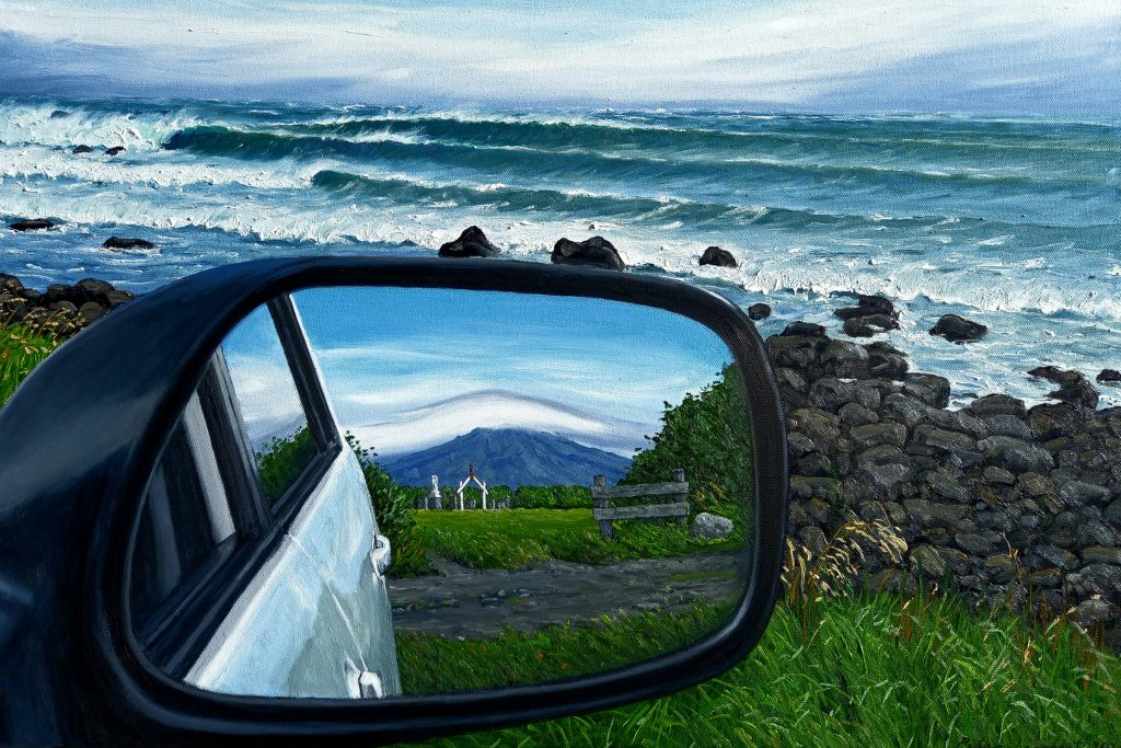"""""""Rocky Point Surf and Wing Mirror with Maunga and Urupa""""   2021, Oil on canvas - 605x910mm"""